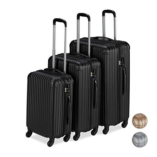 Relaxdays Kofferset 3-teilig, 4 Rollen, Hartschalenkoffer mit Teleskopgriff, TSA-Schloss, Reisekoffer S/M/L, schwarz