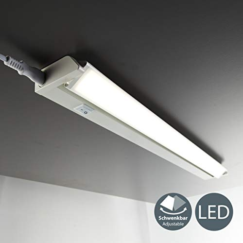 Luce sotto pensile cucina LED, luce bianca neutra 4000K, lampada moderna per l'illuminazione da interno, interruttore on off, corpo plastica color bianco, include LED integrati da 8,5W 230V IP20