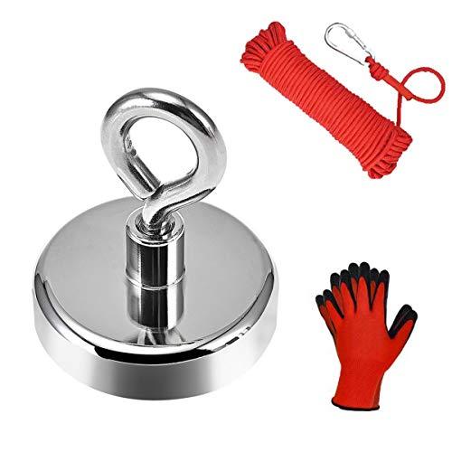Anksixx 160KG Haftkraft Neodym Ösenmagnet Magnete mit Seil (20M/66ft) und ein Paar Handschuhe, N52 Super Stark Magnet Perfekt zum Magnetfischen Magnet Angel - Ø 60mm mit Öse Neodymium Topfmagnet