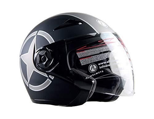 AL Helmets - CASCO JET MOD. 102/BIS NERO OPACO STAR MISURA M - DOPPIA VISIERA