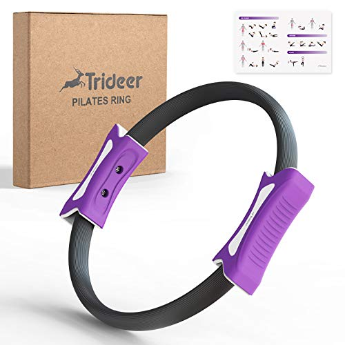 Trideer Yoga Pilates Ring, 12 Inch Magic Fitness Circle for Home Resistance Exercise, Toning Thighs, Abs and Legs, Updated Grip Handles, Free Workout Guide Included