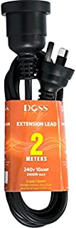 EXL2MB DOSS 2M Power Extension Lead Black Doss PVC Ordinary Duty Cable with Fully Moulded 3 Pin Plug and Socket PVC Ordina...