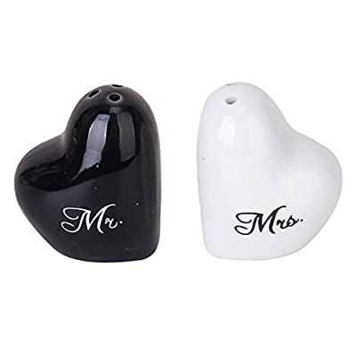 Heart-Shape Ceramic Mr. and Mrs. Salt Pepper Shakers Canister Set Wedding Party Favors from Generic