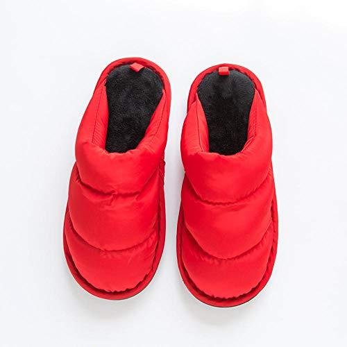 Flip Flop-GQ Winter Hausschuhe Komfortable Warme Paar wasserdichte Daunen Männer Frauen Winter Hausschuhe Warme Hausschuhe Flauschige Hausschuhe, Outdoor-Anti-Rutsch-Gummisohle @ Red_38