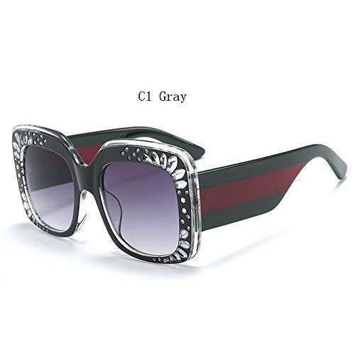 Taiyangcheng Gafas de Sol de Diamantes de imitación Mujer Gafas de Sol cuadradas de Gran tamaño Vintage