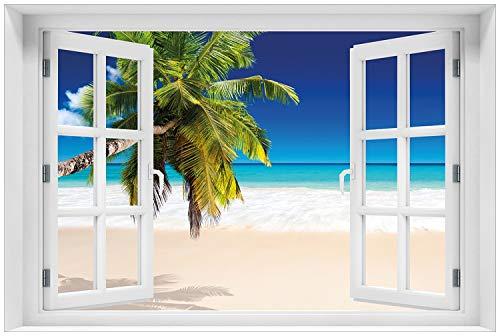 Wallario Glasbild mit Fenster-Illusion: Motiv Südseestrand in der Karibik mit Palme - 60 x 90 cm mit Fensterrahmen in Premium-Qualität: Brillante Farben, freischwebende Optik