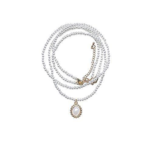 BACKZY MXJP Collar Doble Collar Cadena De Clavícula Mujer