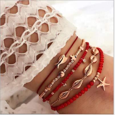 Nicute Boho - Tobillera con colgante de estrella de mar en capas con concha de playa, cadena de punto, lentejuelas para mujeres y niñas