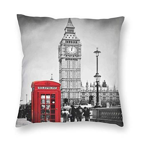Funda de cojín decorativa, famosa cabina telefónica y el Big Ben en Inglaterra Street View símbolos de ciudad retro, apto para cama completa, funda de cojín de 45,7 x 45,7 cm