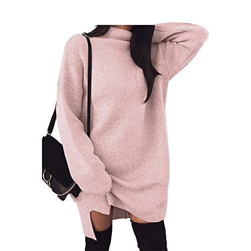 Sexy Dance Vestido de invierno de cuello alto para mujer, color sólido, abertura lateral, manga larga, holgado, mini vestido