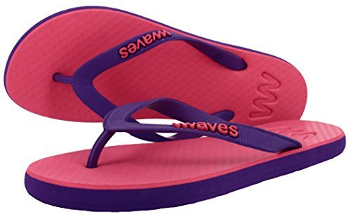 Waves Flip Flops for Women - 100% Natural Rubber Womens Flip Flops - Beach Summer Casual Thong Sandals Slippers - Ideal for by the Pool Gym Shower Beach - Pitaya - Size 5