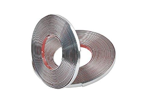 KKmoon 10mm x 12.5m Cromado Adhesivo Moldura Tira Protectora Adhesiva para Parachoques Puerta Decoracion