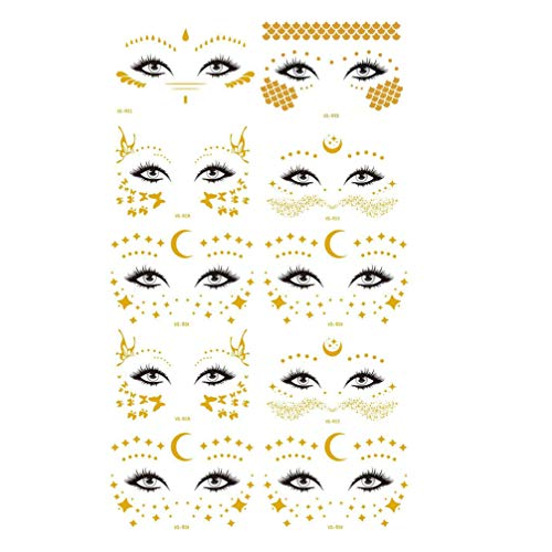 Lurrose 10 Pcs Brillant Autocollants pour Le Visage Étanche Visage Tatouage Partie Mascarade Autocollant Femmes Décoratif Décalcomanies Faciales