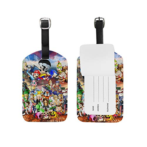 Luggage Tags Super Smash Bros Kirby Sonic Mega Man Mario Pikachu Legend Of Zelda Adjustable Strap Leather luggage tag for Suitcases Baggage