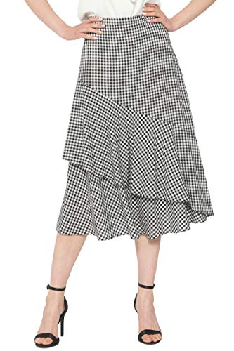 May You Be Women's High Waist Flowy Gingham Tiered Ruffle Midi Skirt (10) Black/White