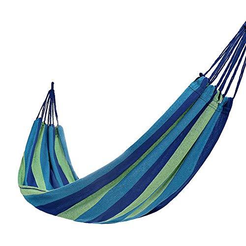 JTH Hangmat Swing, regenboog Outdoor Vrije tijd Dubbele Inklapbare Canvas Hangmatten Ultralight Camping Hangmat, Perfect voor Camping & Buiten Of Tuinen En Reizen Blue strip