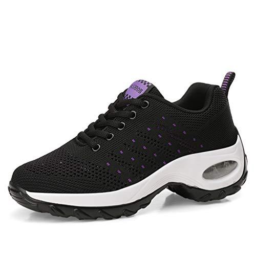 Zapatos para Caminar para Mujer Zapatillas de Deporte Aumentadas Malla Antideslizante Cojín de Aire Casual Damas Niñas Plataforma Zapatillas para Correr (35,Negro-68)