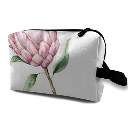 Trousse de Maquillage Pochette cosmétique Aquarelle King Protea Hpainted Fleur Rose avec des Feuilles Sac Multifonctionnel Kit de Voyage Sac de Rangement