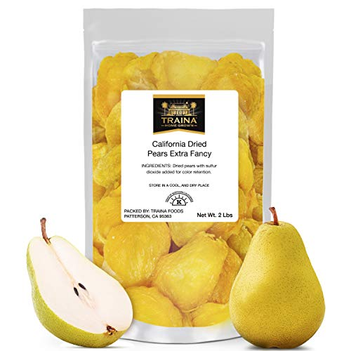 Traina Home Grown Extra Fancy Dried Pears - No Added Sugar, Non GMO, Gluten Free, Kosher Certified, Vegan, Packed in Resealable Pouch (2 lbs)