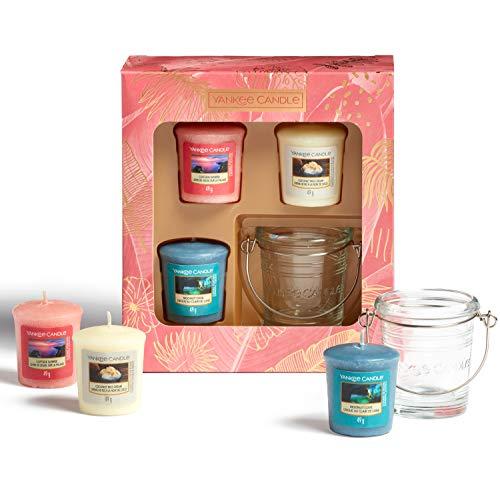 Yankee Candle - Set regalo con 3 candele votive profumate e 1 portacandele votive | The Last Paradise Collection | ideale per la festa della mamma