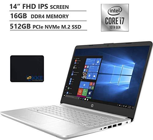 "HP 2020 Business Laptop, 14"" Full HD Screen, 10th Gen Intel Core i7-1065G7 Processor up to 3.9GHz, 16GB DDR4 RAM, 512GB PCIe SSD, WiFi, Bluetooth, Type-C, HDMI, Win 10 Home, Silver, KKE Mousepad"