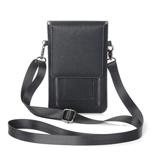 Phone Back Cover 6.3 inch and Below Universal PU Leather Double Zipper Shoulder Carrying Bag with Card Slots & Wallet for Sony, Huawei, Meizu, Lenovo, ASUS, Cubot, Oneplus, Dreami, Oukitel, Xiaomi, Ul