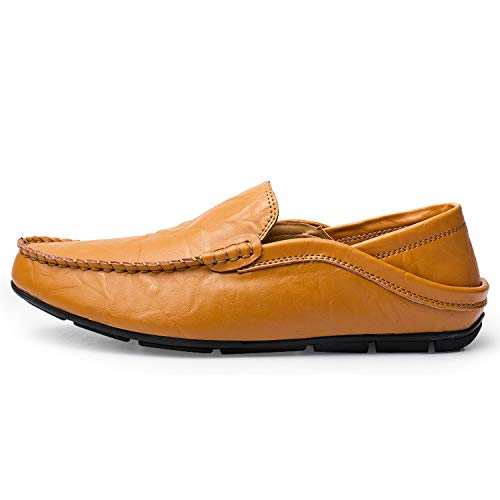 Men Shoes Casual Genuine Leather Mens Loafers Moccasins Designer Slip On Boat Shoes,Brown,7