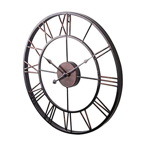 yaoyao Reloj De Pared 47Cm Color Chocolate Extra Grande Estilo Vintage Metal Forma Simple Y Generosa para…