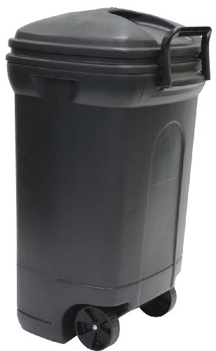 United Solutions TB0010 Rough and Rugged Rectangular 34 Gallon Wheeled Black Outdoor Trash Can with...
