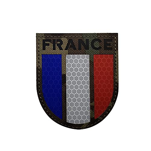 Ohrong Parche infrarrojo reflectante de la bandera de Francia del ejército nacional francés Moral emblema táctico militar moral paintball insignia de combate para mochila de viaje sombreros chaquetas