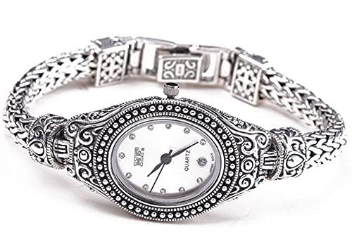 CHXISHOP Relojes de Plata esterlina de Las Mujeres, 925 Joyas de Plata, Relojes de Pulsera de Mujer de Estilo indonesio White-M
