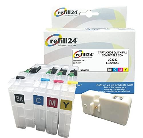 Cartuchos Recargables para Brother LC3233, LC3235 Negro y Color. Incluye reseteador