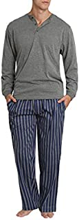 Image of Blue and Gray Cotton Striped Henley Pajamas for Men - See More Patterns