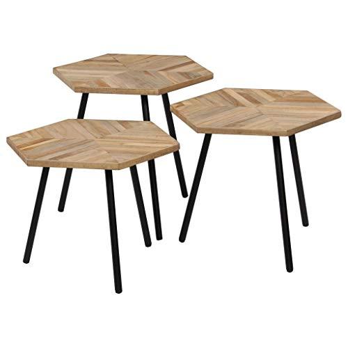 vidaXL 3X Table Basse Hexagonal Teck Recyclé Salon Table d'Appoint Gigogne