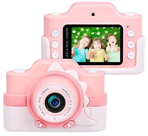 """Funkprofi Kinderkamera WiFi 2 Objektive 24 MP HD 2.0"""" IPS-Bildschirm mit Aufklebern und Cartoon Schutzhülle Digitalkamera für Kinder als Geschenk ( Rosa)"""
