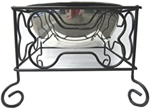 YML 7-Inch Wrought Iron Stand with Single Stainless Steel Bowl - Size: Medium (6.75