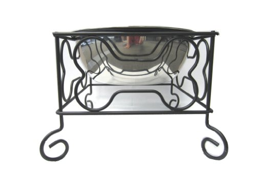 YML 7-Inch Wrought Iron Stand with Single Stainless Steel Bowl - Size: Medium (6.75' H x 8.25' W x 8.25' D)