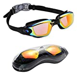 aegend Swim Goggles, Swimming Goggles No Leaking Anti Fog UV Protection Triathlon Swim Goggles with Free Protection Case for Adult Men Women Youth Kids Child, Light Orange