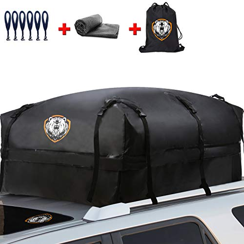 Waterproof Rooftop Cargo Carrier - Heavy Duty Roof Top Luggage Storage Bag with Anti-slip Mat + 10 Reinforced Straps + 6 Door Hooks - Perfect for Car, Truck, SUV, Van With/Without Rack - 19 Cubic Feet