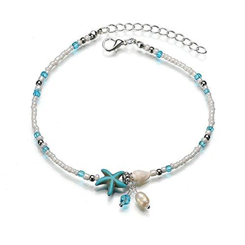 Qinlee Coquillage Bracelet de Cheville Femme Vintage Accessoires Plage Bijoux pour Maman Grand-Mère Fille ou Sœur Porte-Bonheur Cadeau de Bijoux Été Bracelet Chaîne 24cm+6cm