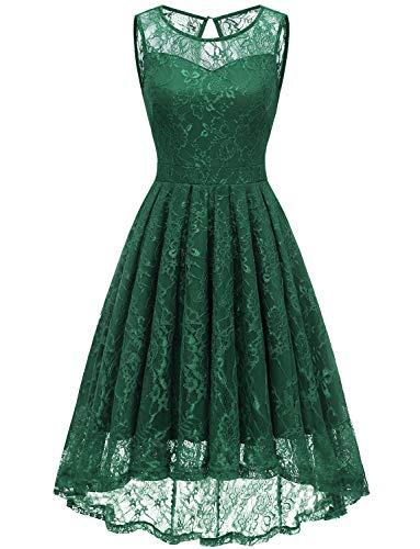 Gardenwed Damen Kleid Retro Ärmellos Kurz Brautjungfern Kleid Spitzenkleid Abendkleider CocktailKleid Partykleid Forest Green in M