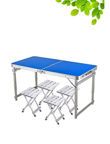 YKWYQ Mesa Camping Plegable Silla Mesa Plegable Camping al Aire Libre de aleación de Aluminio Mesa de Picnic Impermeable Ultraligera Duradero Mesa Plegable Desk para (Color : Blue)