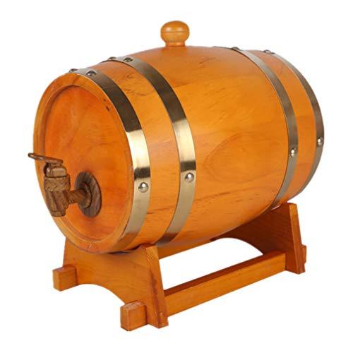 HANYU Barril De Vino De Roble Crianza en Roble 10L Barril de Madera con Revestimiento de Papel de Aluminio. Apto para Almacenamiento Vino Ron Licor de Whisky (Color : Yellow, Size : 10L)