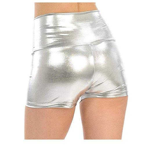 YiZYiF Damen Kurze Fitness Shorts Hot Pants Damen Hose Sport Yoga Wassersport Schwimmen Bikinihose Badehose Schwimmshorts Silber XX-Large