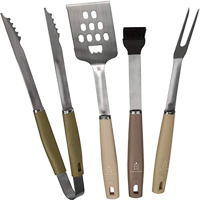Den Haven Stainless Steel BBQ Accessory Grill Tool Set 4 Piece Barbeque Grilling Utensils Tongs Brush Spatula Meat Fork