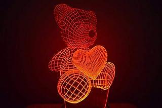 Oso de San Valentín con corazón 3D LED ilusión lámpara de noche luz al lado de la mesa colores cambio automático interruptor táctil decoración escritorio control remoto