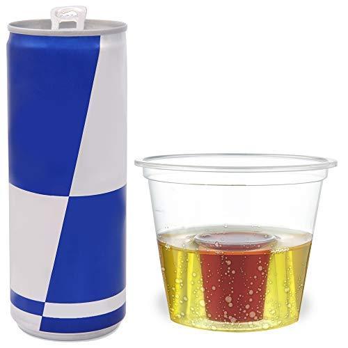 100 Bicchieri da Shot USA e Getta in Plastica Rigida, Trasparente| Bomb Shot Cups| Resistente, Monouso o Riutilizzabile| Jagerbomb Jagermeister Red Bu