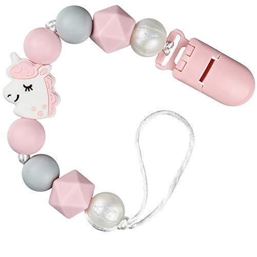 PREMYO Catenella Portaciuccio Bimba Unicorno – Perle di Silicone Dentizione con Clip – Universale senza Nome Rosa