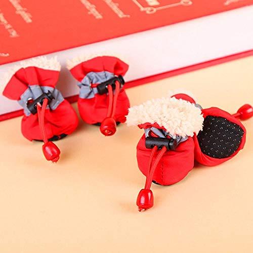 CLIN Hund Stiefel Pfotenschutz Weiche Hunde Schuhe Winter Haustier Fuß Schuhe Für Hunde Stiefel rutschfeste Atmungsaktive Sommer Schuhe Welpen Chihuahua York 7 größe 6 Farben -Rot 4