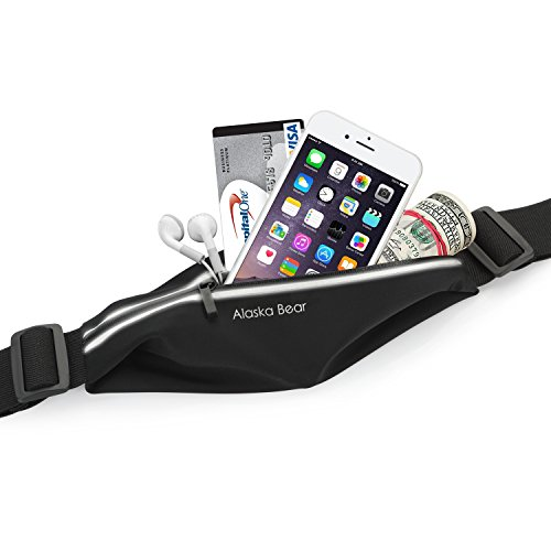 Adjustable Expandable Running Belt, Fitness Weather Resistant Waist Pocket with Reflective Strip for iPhone 6/6 Plus / 6s, Suitable for Biking, Hiking, Black